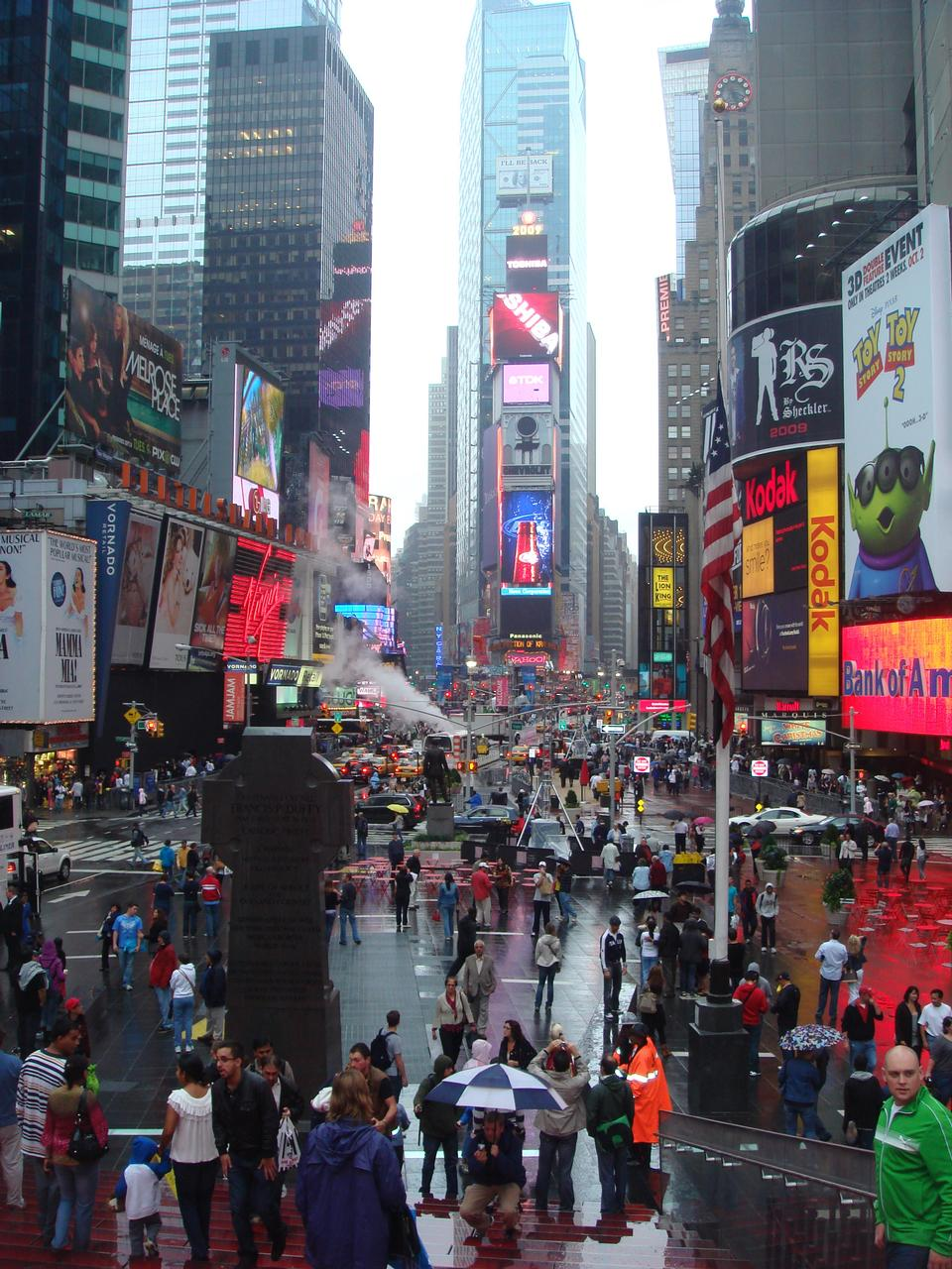 Times Square, descritto con teatri di Broadway e LED animato