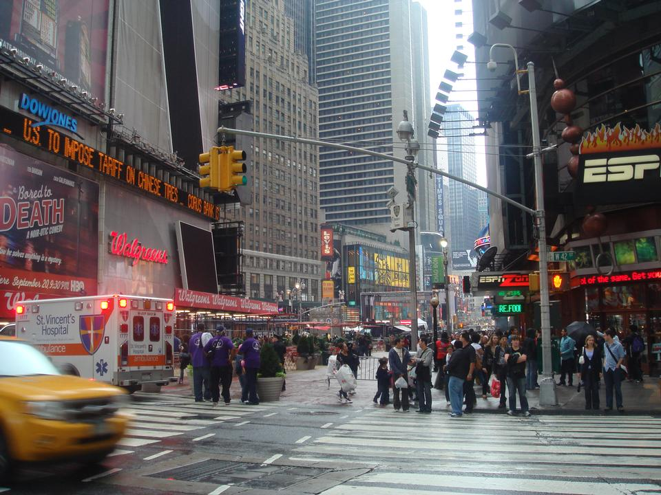 Taxi cars in Times Square, a busy tourist intersection