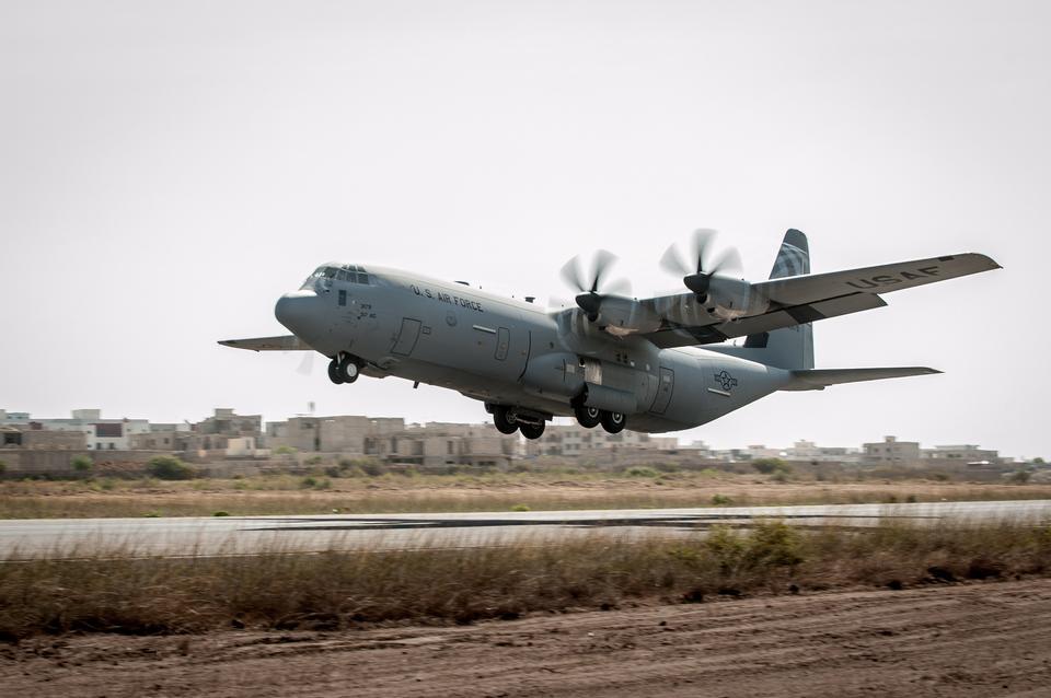 C-130 Hercules takes off