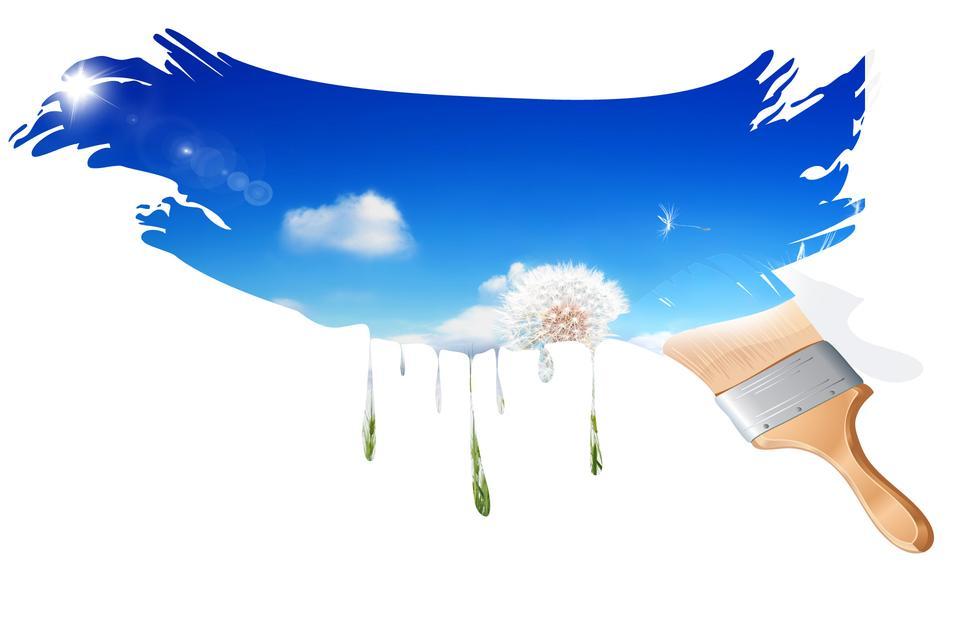 peinture pinceau beau paysage avec le lever du soleil, ciel bleu