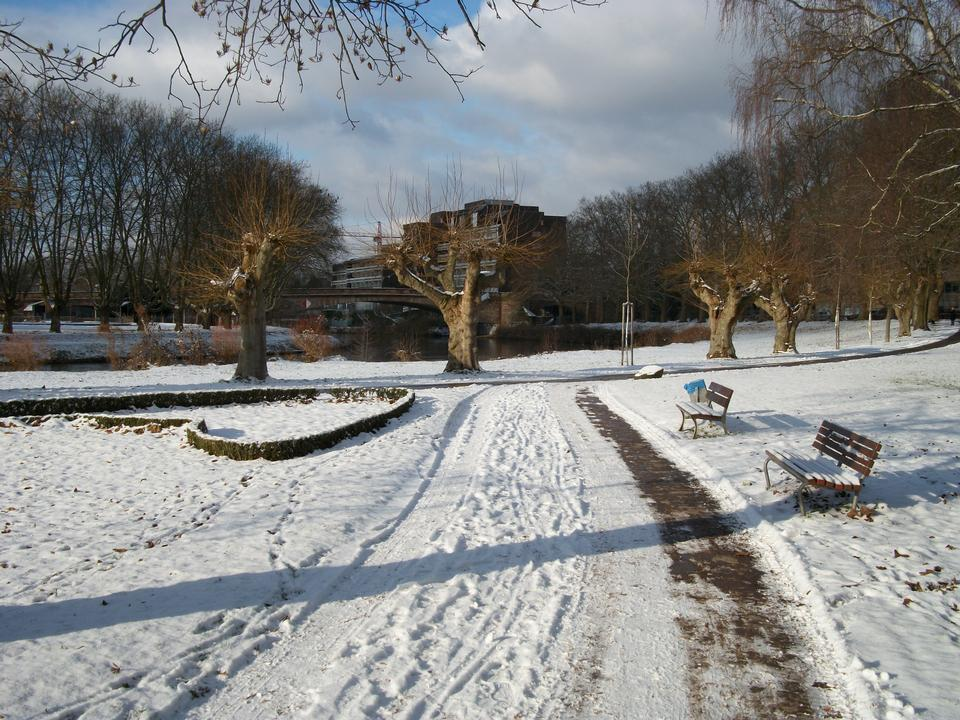 Benches in the winter city park which has been filled up with sno