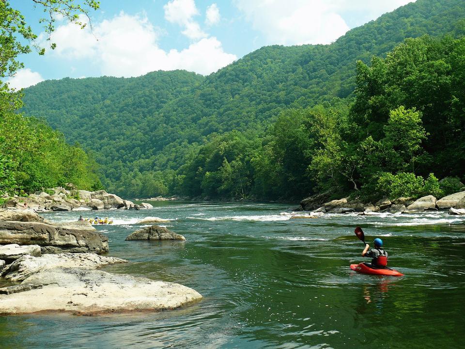 Rafting in der New River in West Virginia
