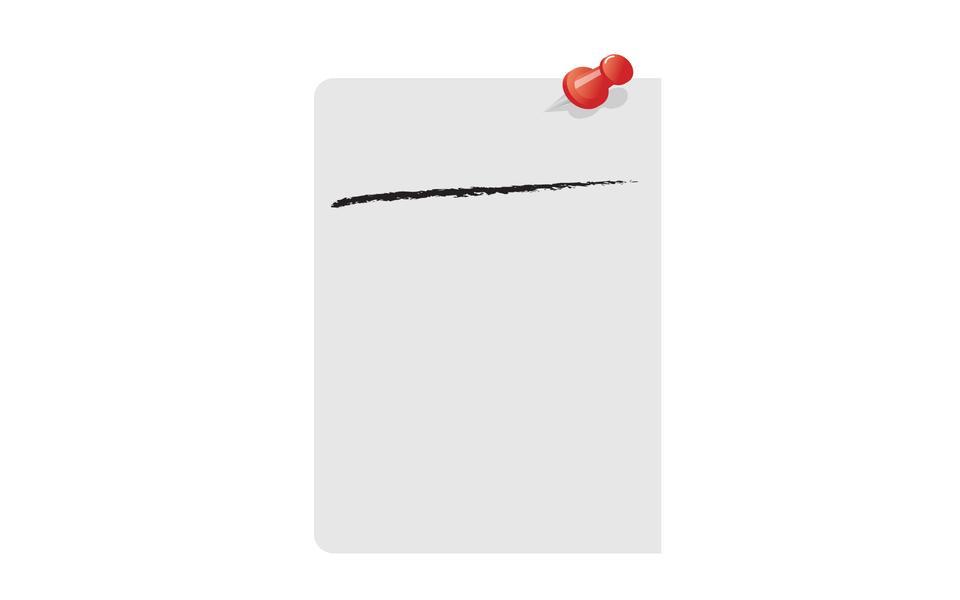 Note collante carré gris, avec la broche rouge, isolé