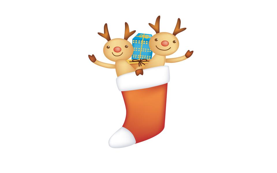Cute reindeer with christmas banner isolated on white