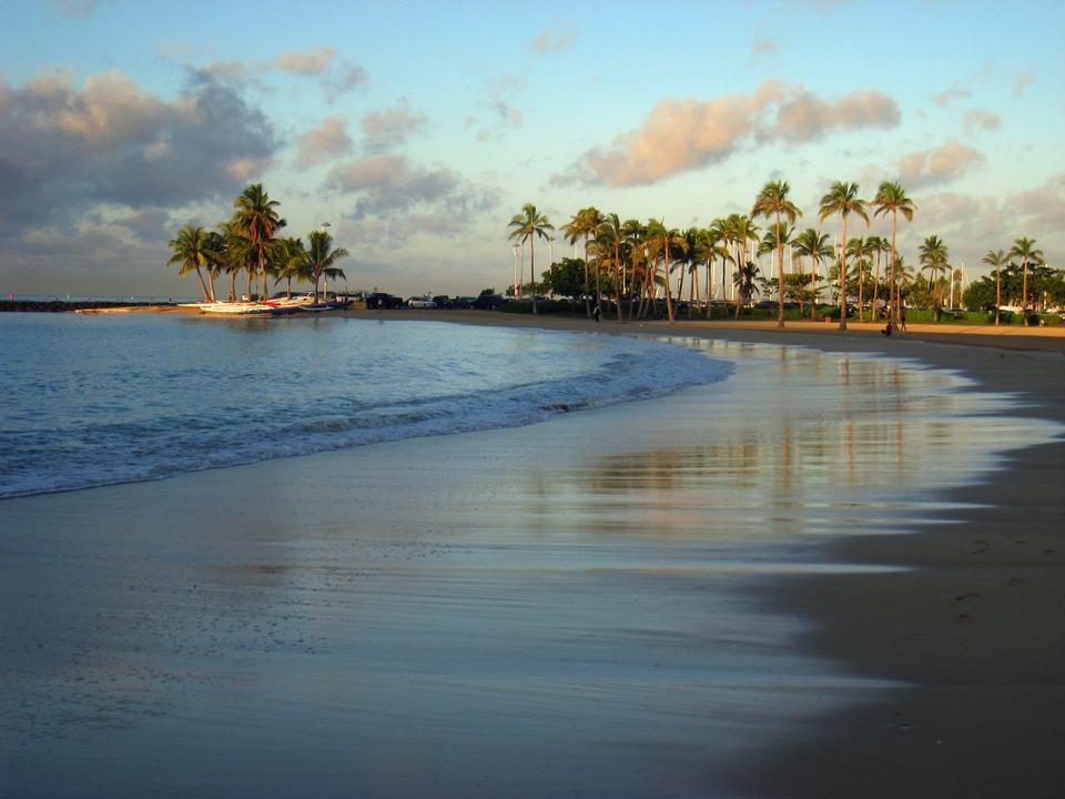夏威夷的懷基基海灘日落