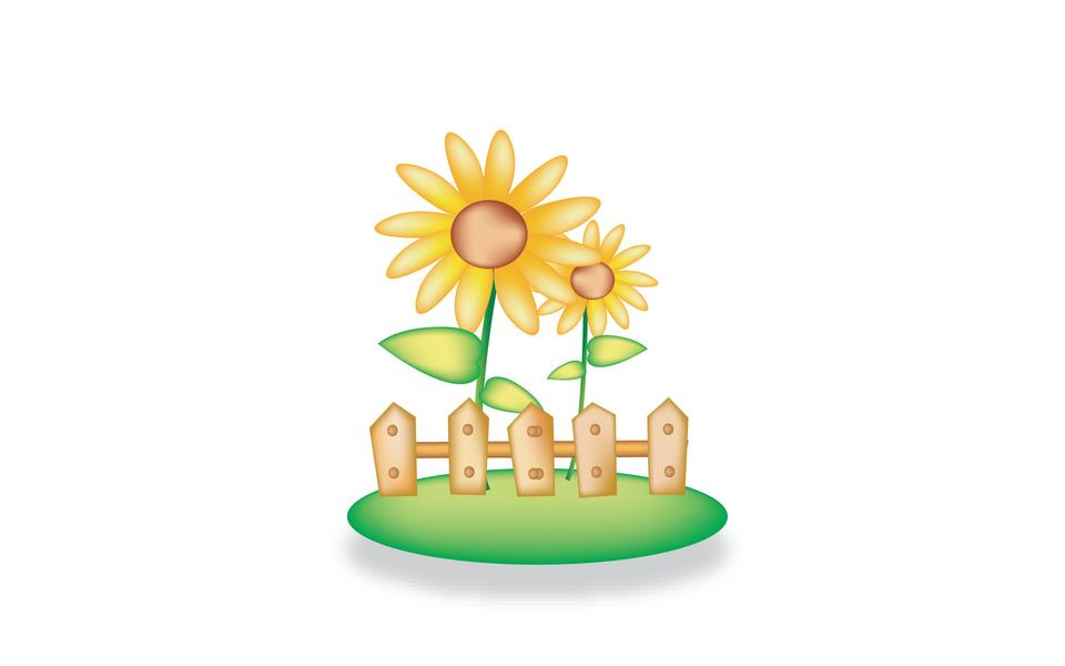 两个向日葵围栏外增长。