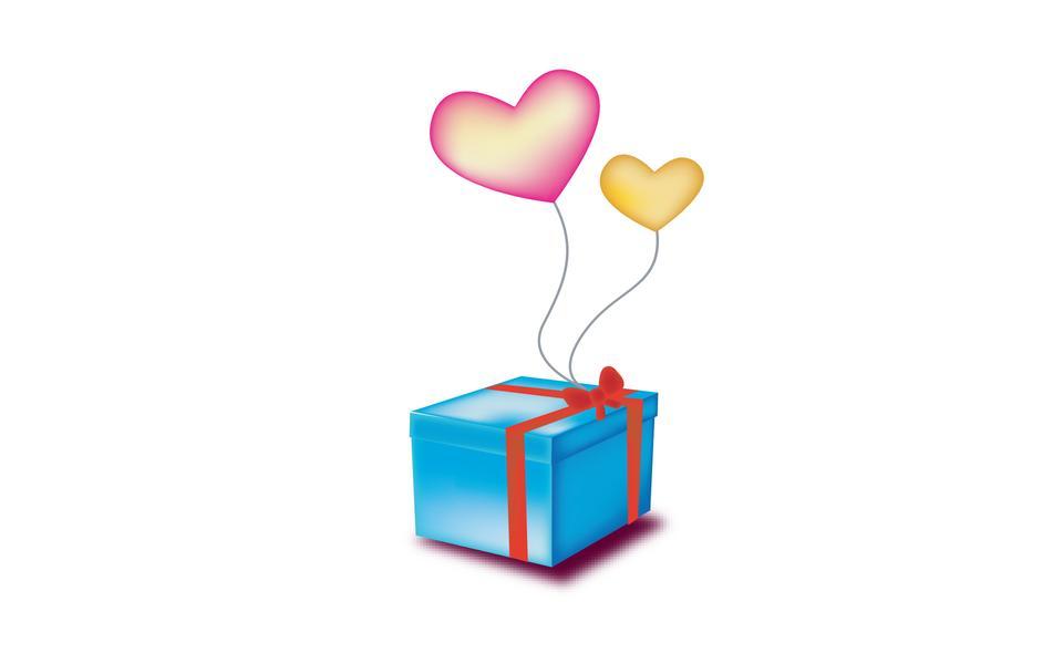 farbigen Ballon Herz mit einem Geschenk