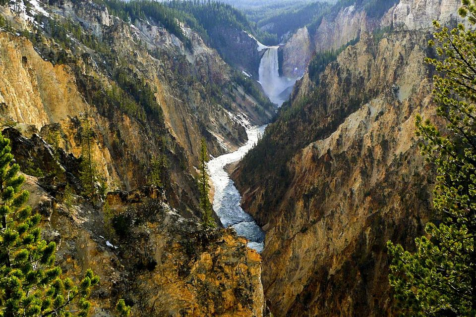 Senken Sie Fälle, Yellowstone National Park, Wyoming