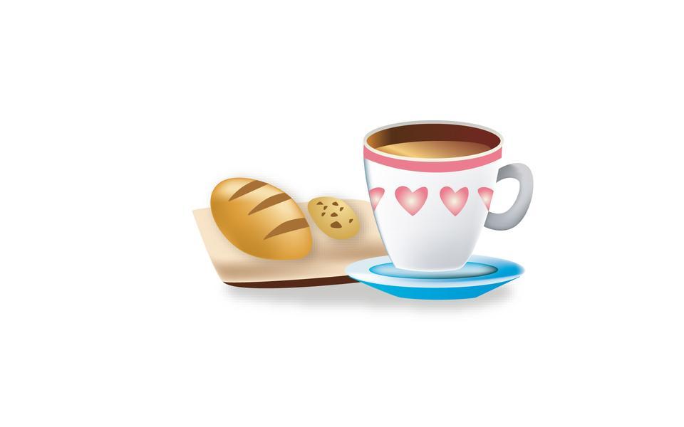 A mug with a hot drink. Tea, coffee. Cartoon. Cookies. Breakfast.