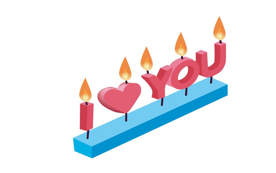 I love you written candles