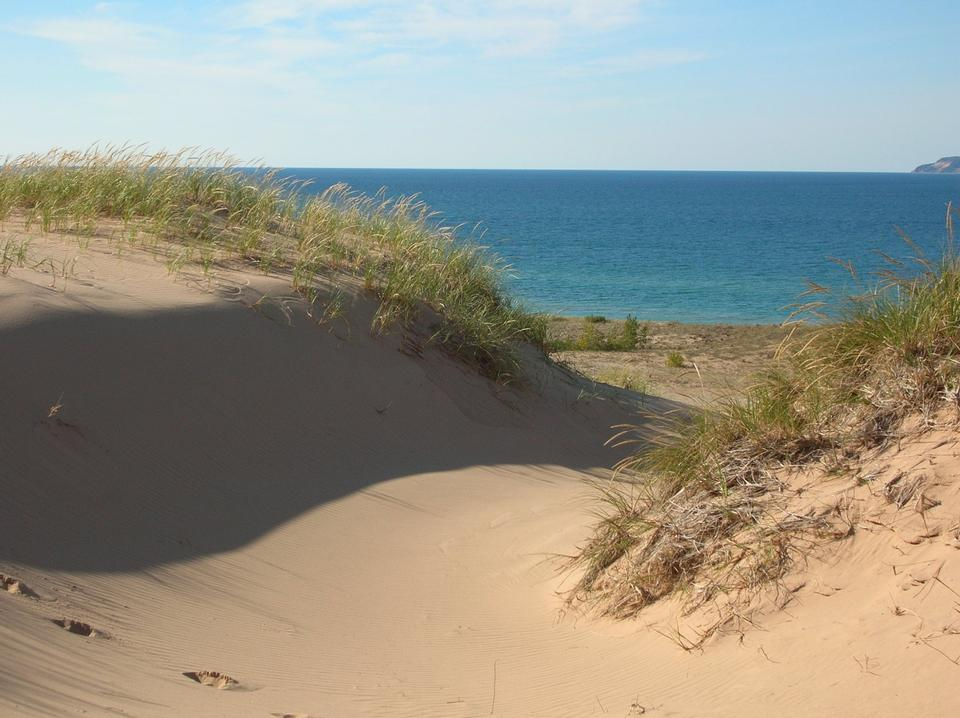 Lake Michigan over the dunes at Sleeping Bear Point Trail