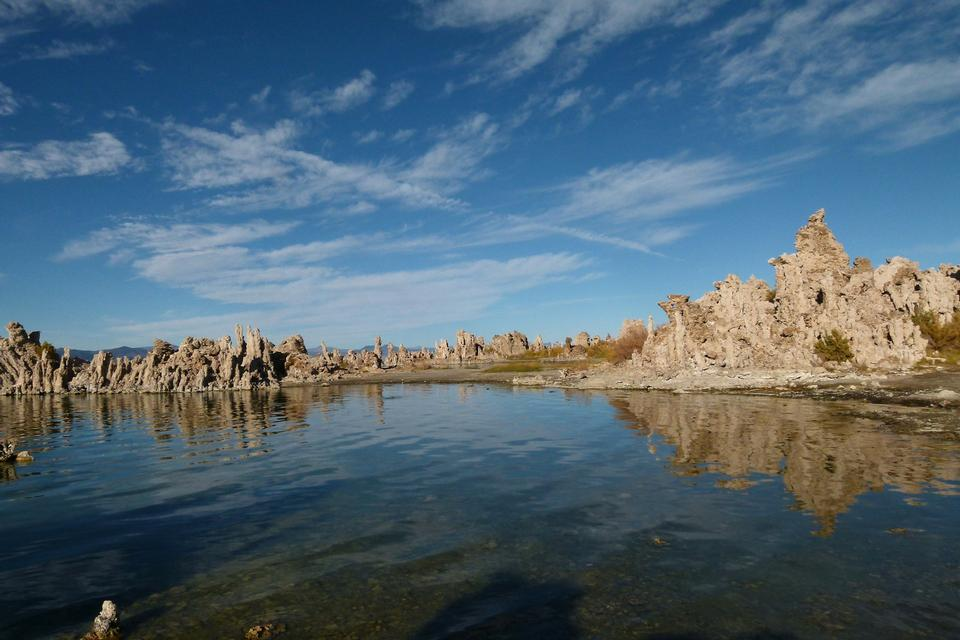 Mono Lake shallow saline soda lake in Mono County California