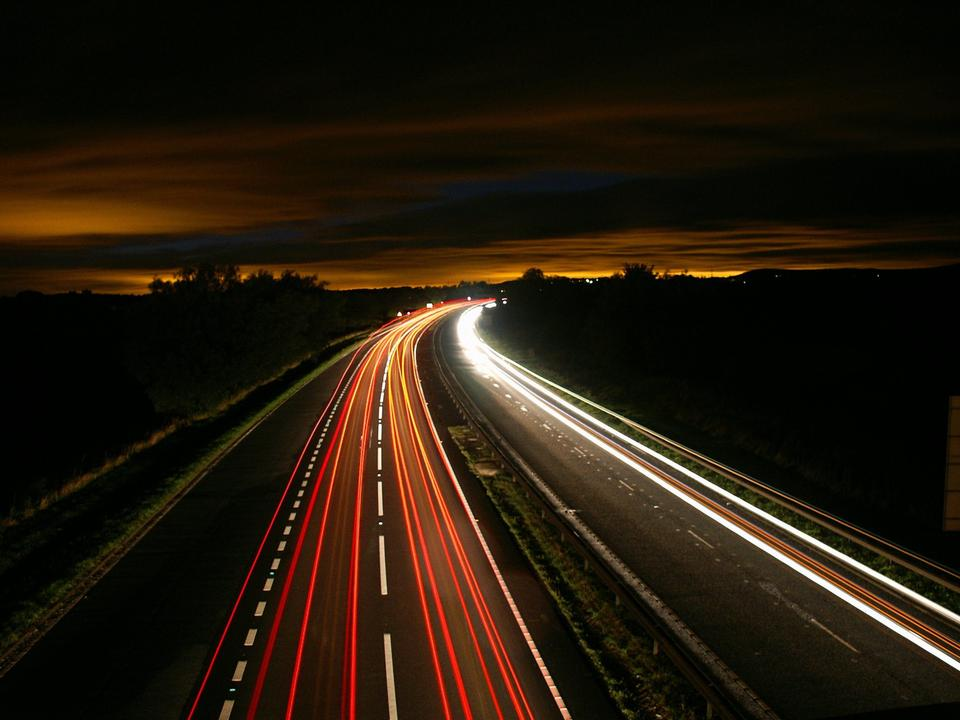 the light trails on the street in Highway