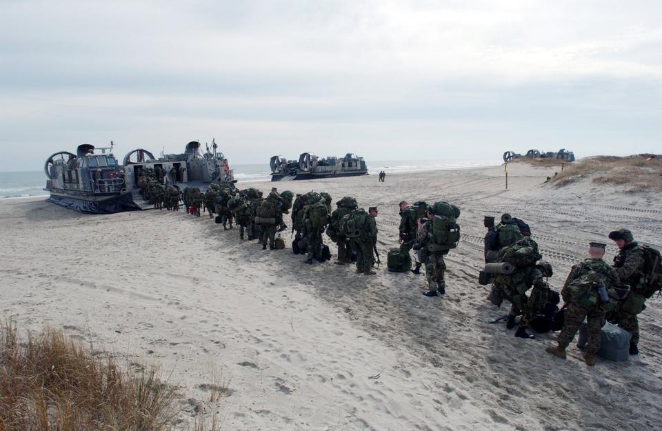 Marine Expeditionary Unit board a Landing Craft Air Cushion