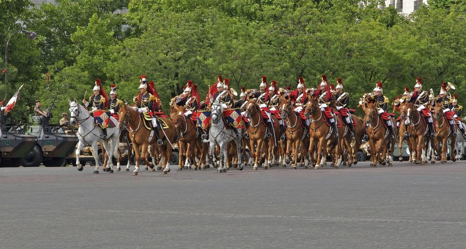 The royal horse guards Charles-de-Gaulle square, Paris, France
