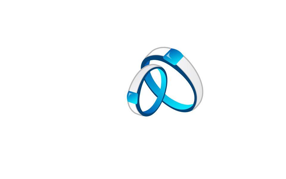 Icono azul de los anillos de bodas
