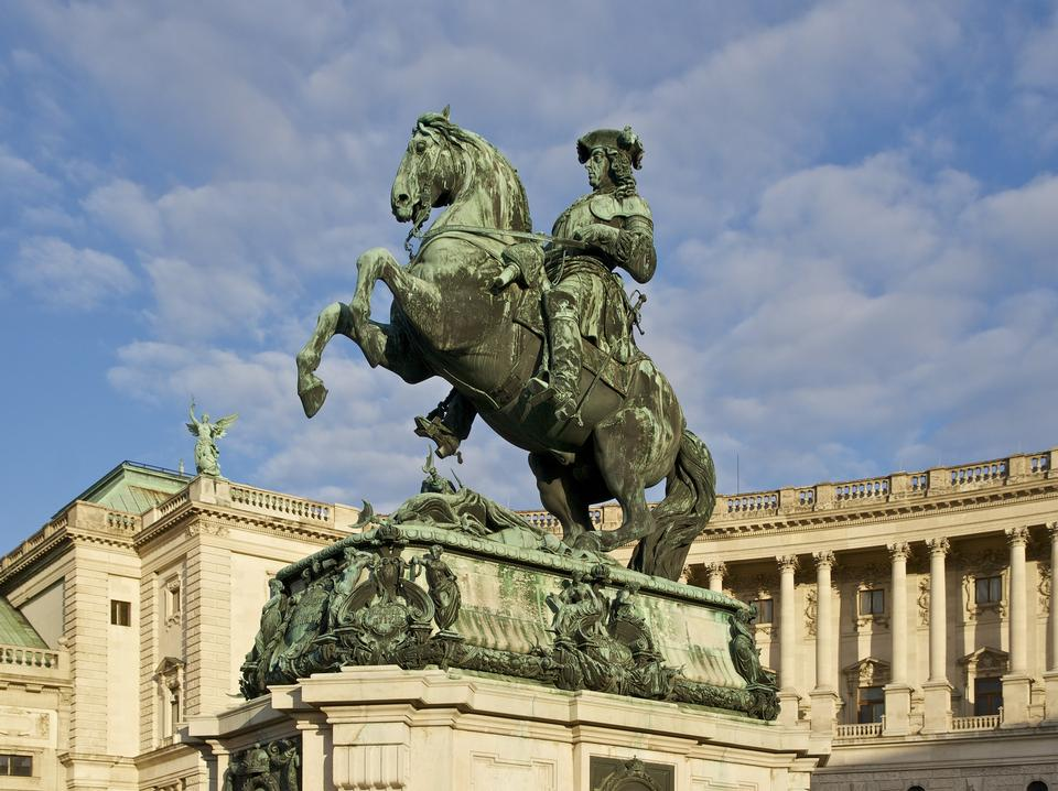 Statue of Prince Eugene in front of Hofburg Palace, Vienna