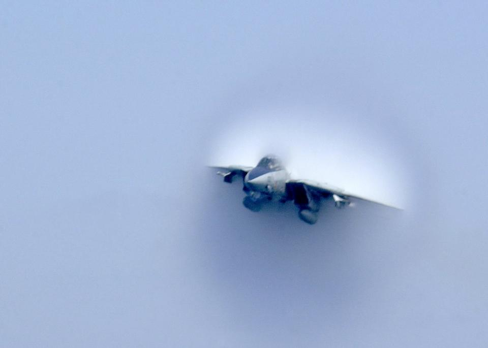 reaches the sound barrier during a low altitude super sonic fly
