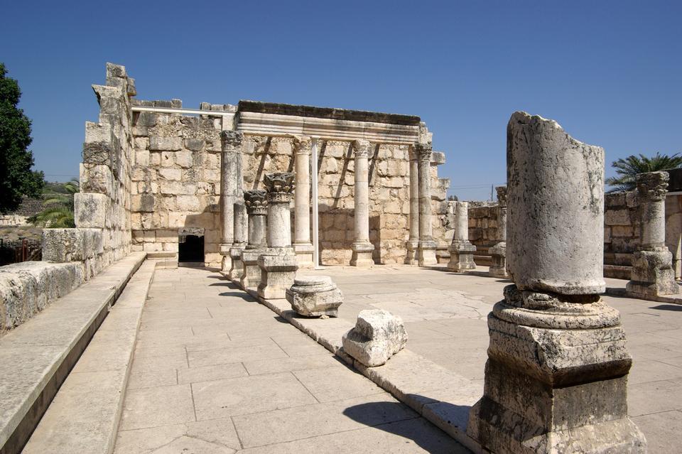 Antike Ruinen Synagoge in Kapernaum in Israel