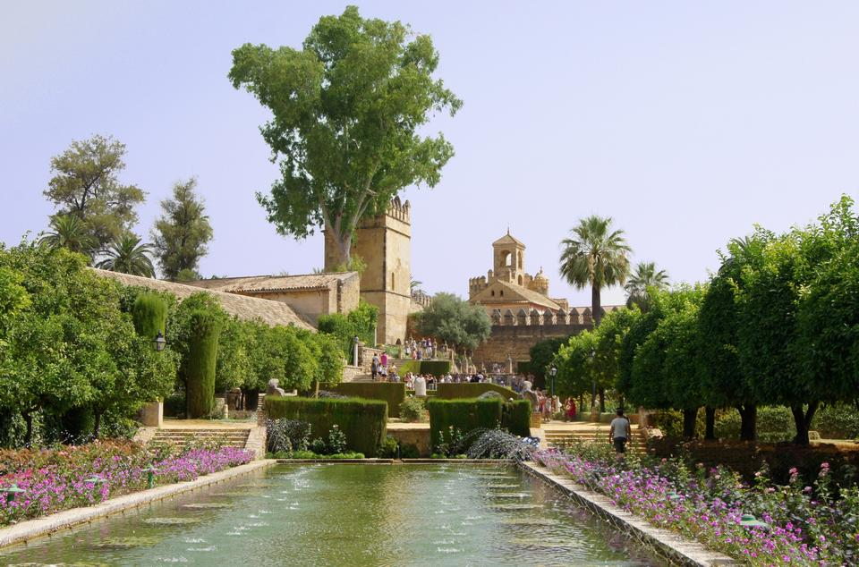 Gardens at the Alcazar de los Reyes Cristianos in Cordoba, Andalu