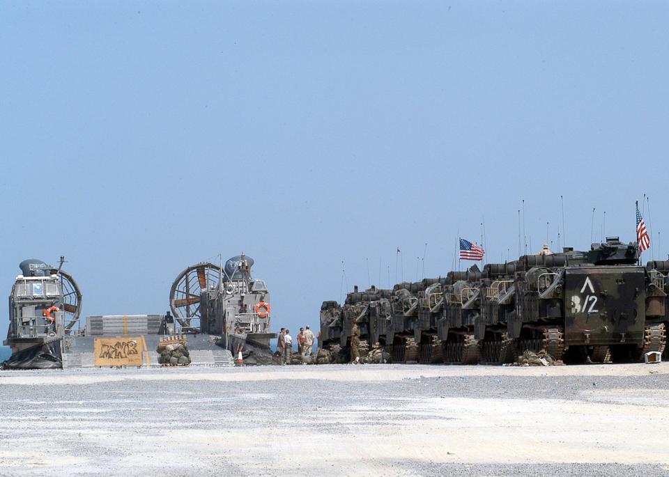 Marine Expeditionary Brigade line up vehicles