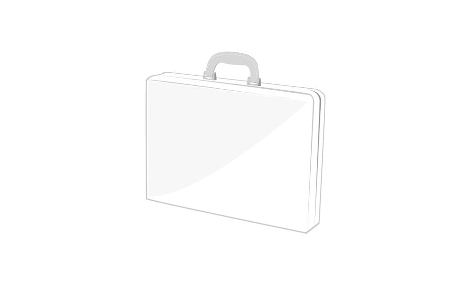 ハンドル付きカートンまたはプラスチックホワイト空白パッケージボックス。ブリーフケース、