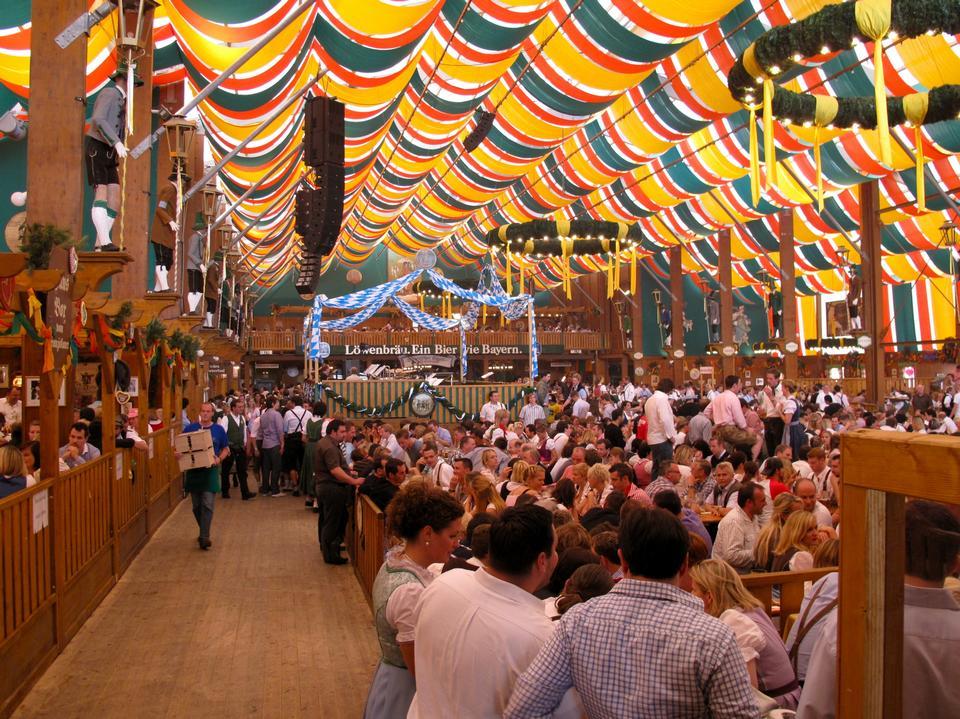 Loewenbraeu brewery at world biggest beer festival Oktoberfest i