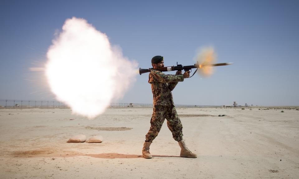 the Mobile Strike Force Kandak fires a RPG-7