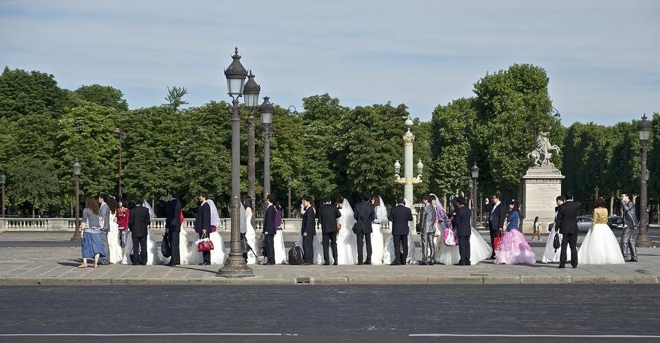 Parejas boda sensuales en Concorde París