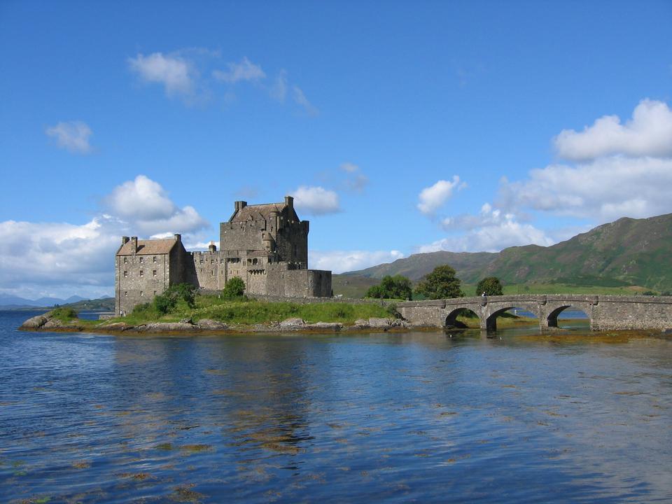Closeup of Reflection of Eilean Donan Castle, Highland Scotland