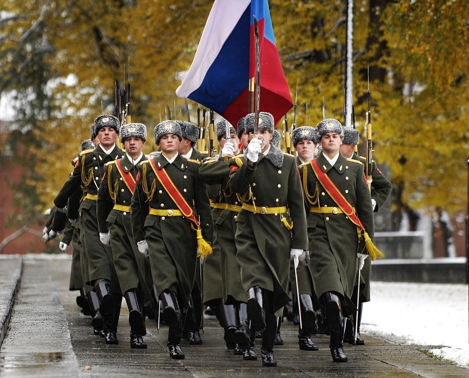 Russian honour guard perform