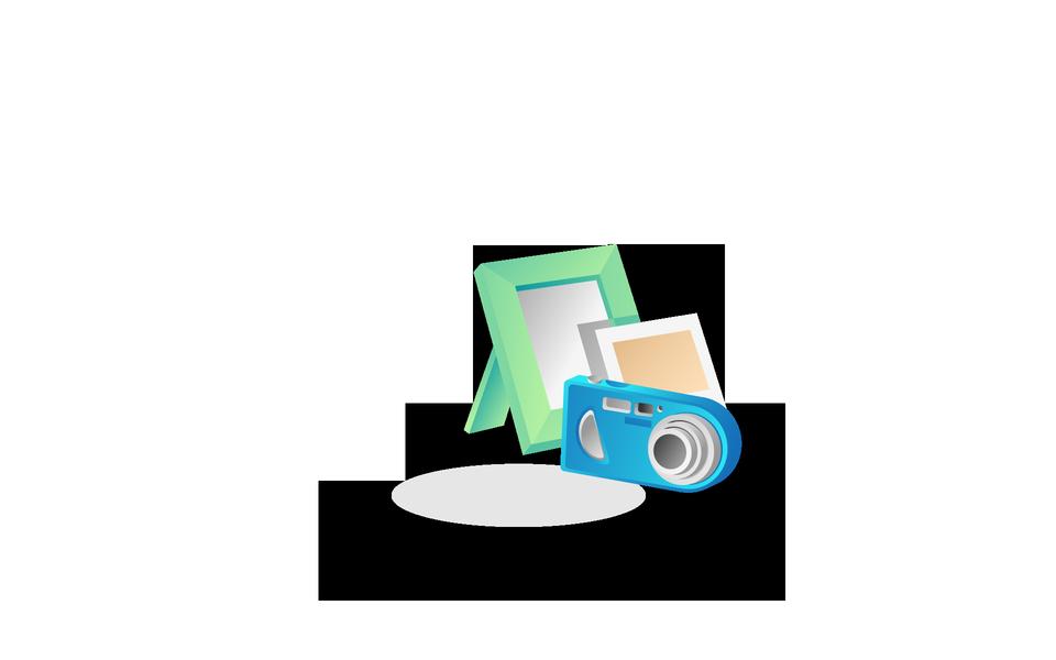 Photo camera icône avec les cadres photo