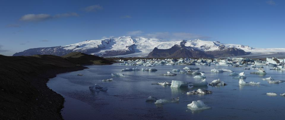 Panorama of the Vatnajokull Glacier Iceland