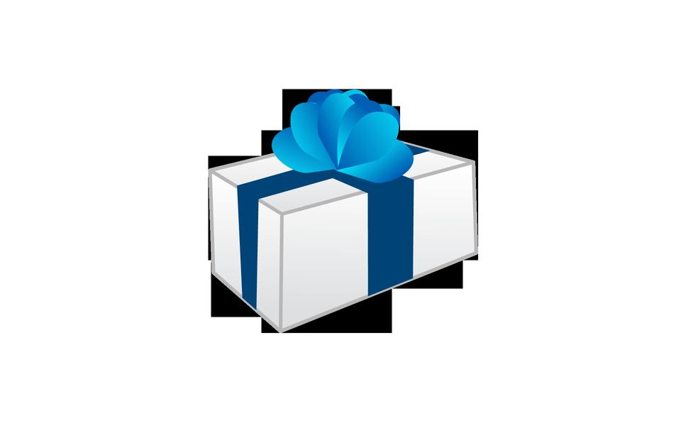 白色禮品盒與藍絲帶蝴蝶結