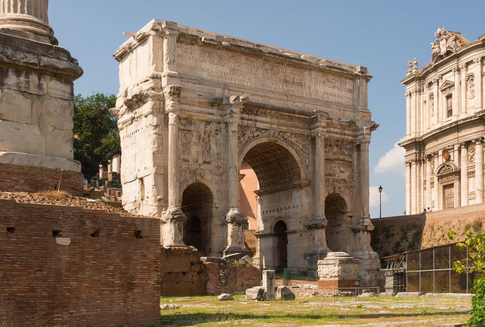 Arch of Emperor Septimius Severus and the Roman Forum in Rome