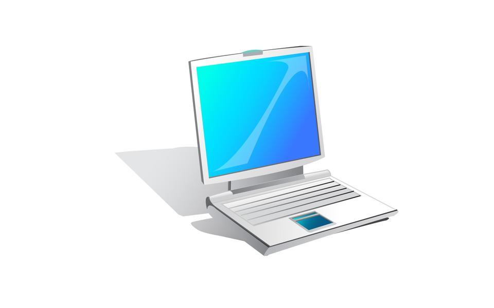 Notebook laptop computer icon on white