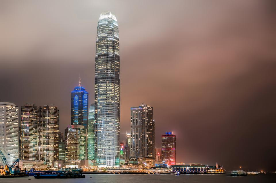 Hong Kong skyscrapers in a night of typhoo