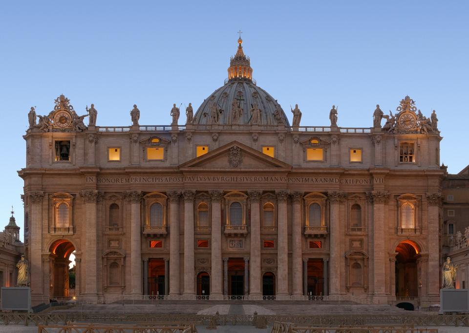 Facade of Saint Peter's Basilica in Rome