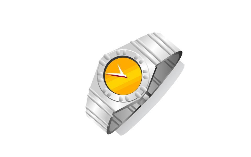 白で隔離されたアナログの男性の腕時計