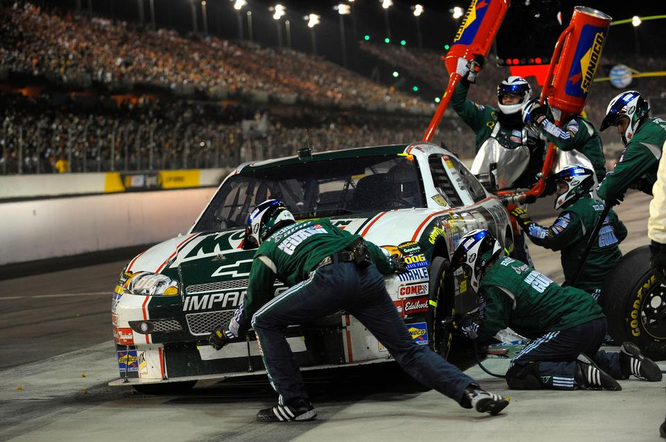 making a pitstop at the Nascar night time race at the darlington