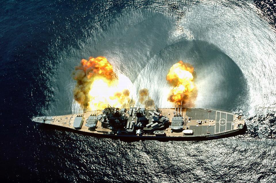 USS Iowa (BB-61) fires a full broadside