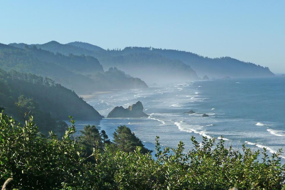 鬱鬱蔥蔥的綠色俄勒岡州海岸與美麗的藍色太平洋