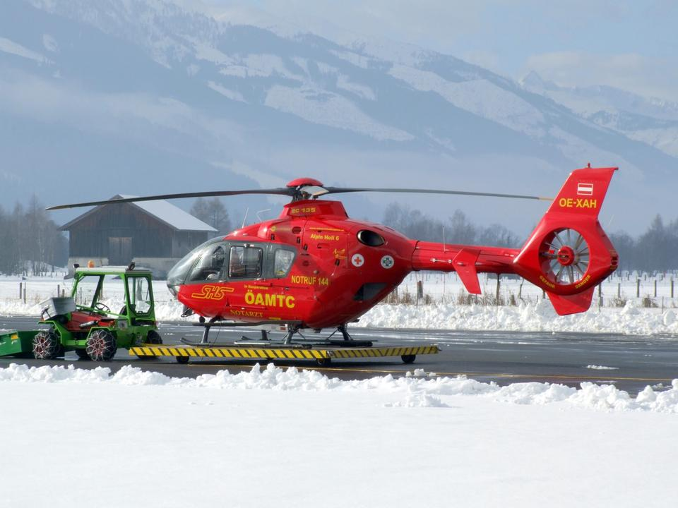 The rescue helicopter ready to evacuate skiier
