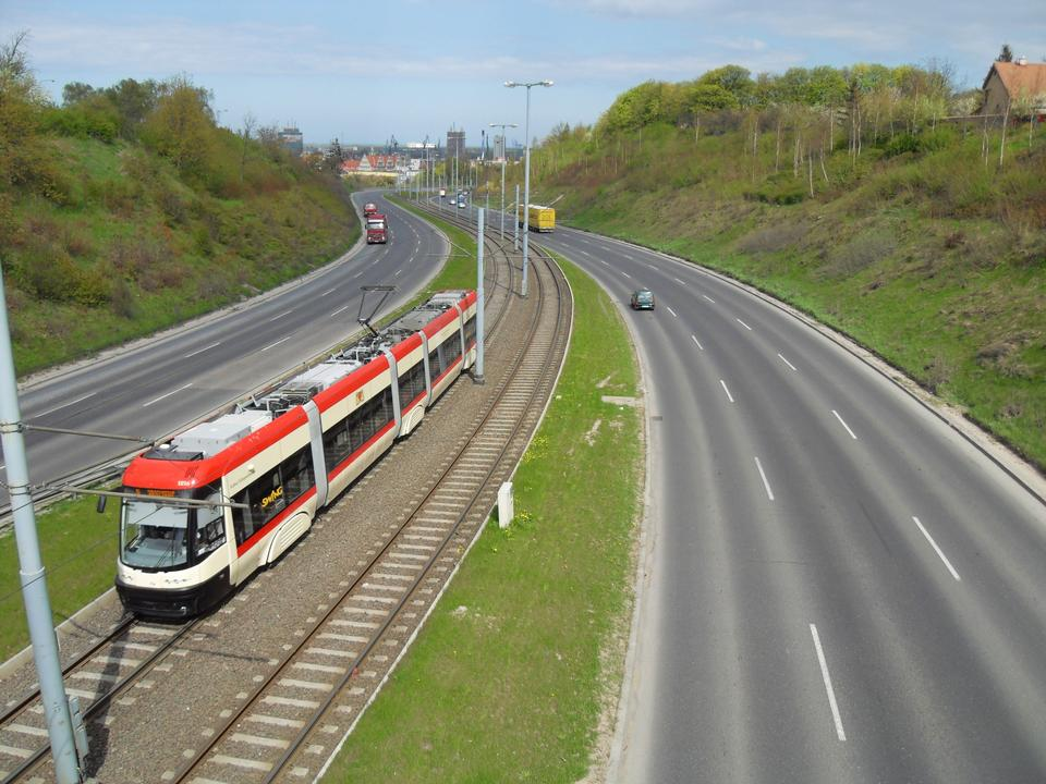 Tram, streetcar in Gdansk, Poland