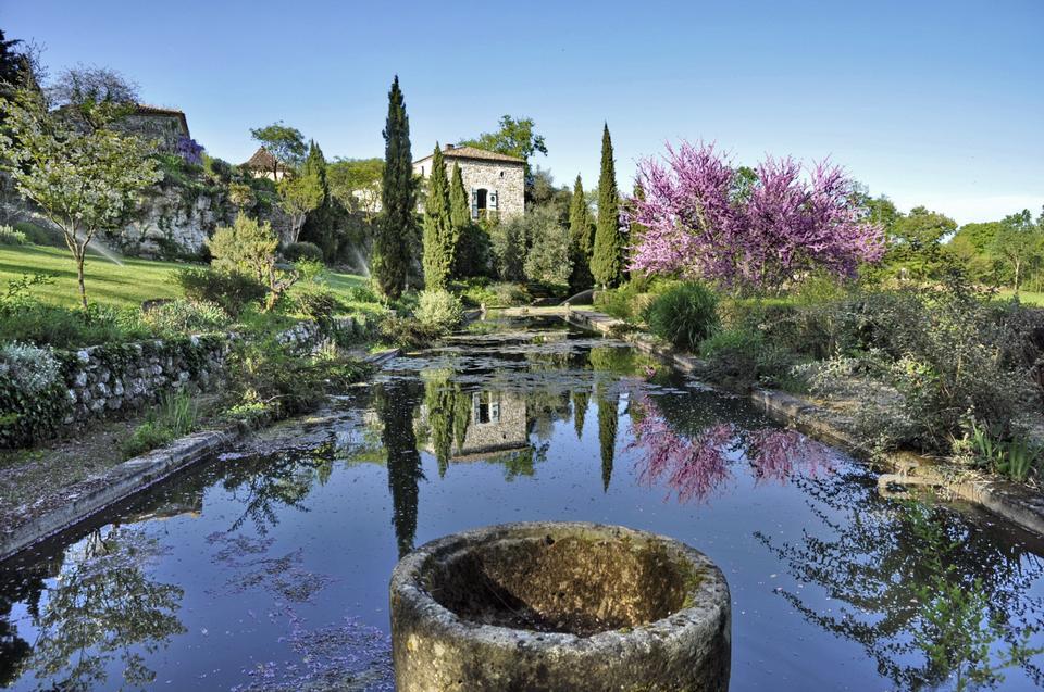 池のある屋外の風景式庭園