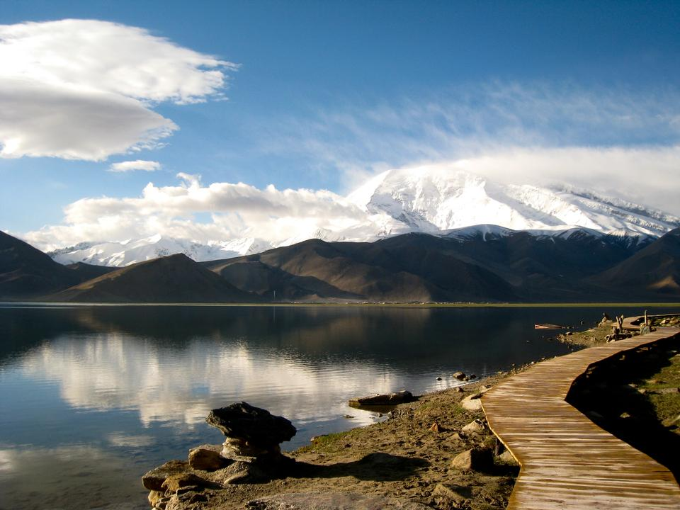 reflection of mountain on Karakul lake