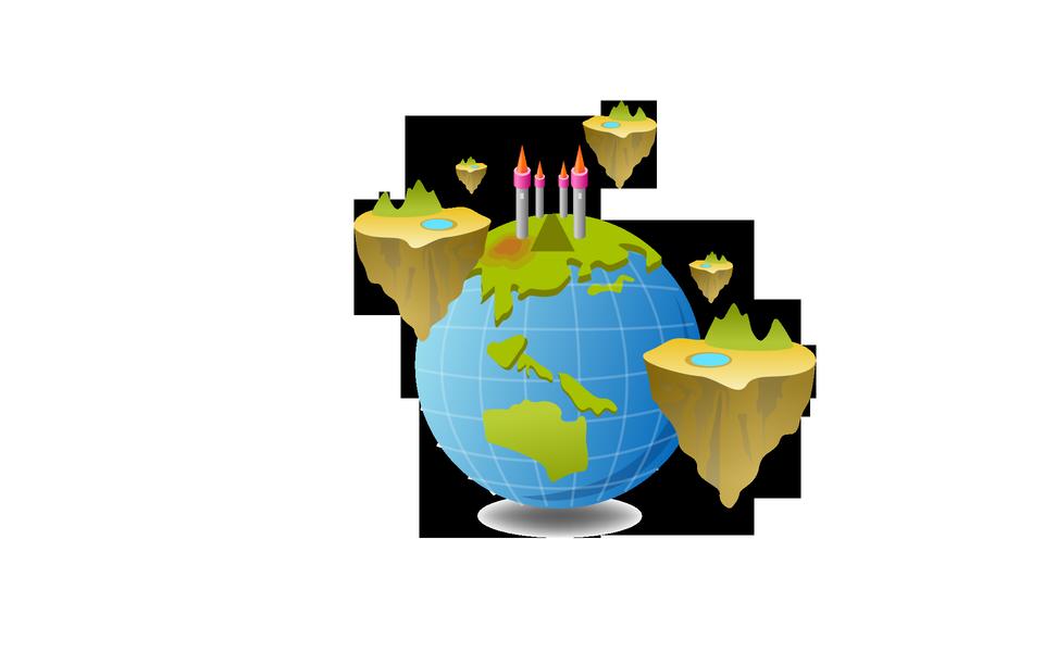 World map globe cartoon fun vector. Funny game style.