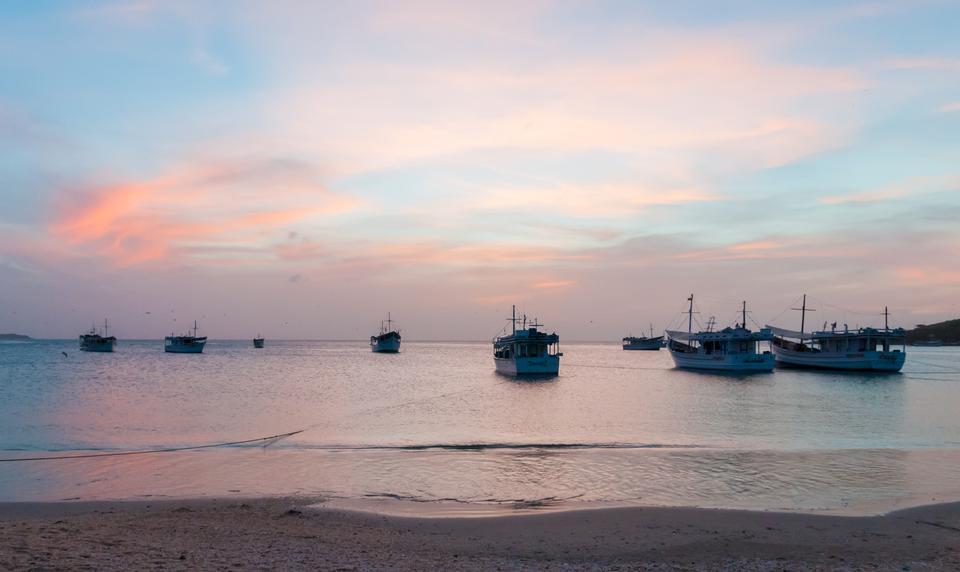 Bay at Island Margarita in sunset time near town Juan Griego