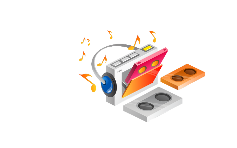 Music elements with flat design