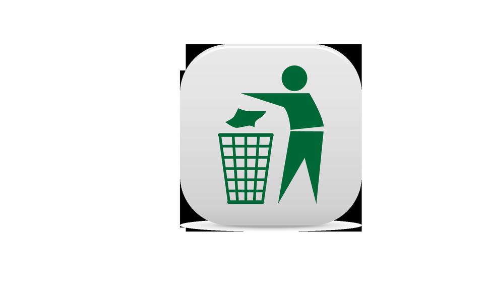 绿色背景垃圾桶标志